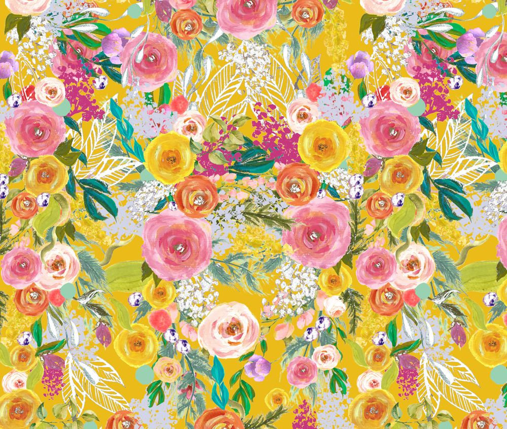 Mustard Yellow Yellow Floral Fall Floral Fabric Printed By