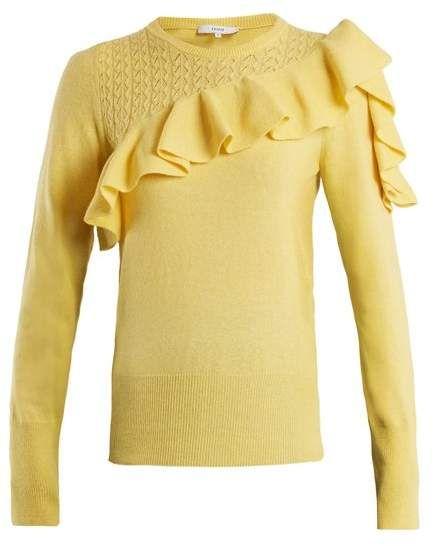 356165e6 Erdem - Dharma Ruffle Trimmed Knit Sweater - Womens - Yellow ...