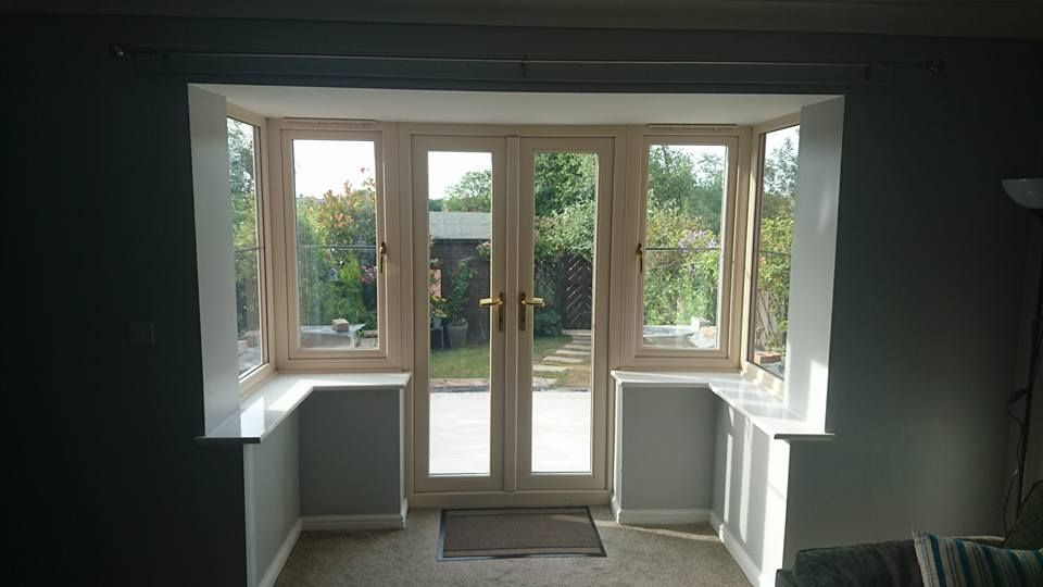 Bay Window With Patio Doors From Inside The House Before Work Starts