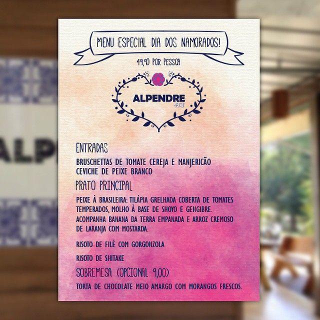 Cardápio desenvolvido para o menu do Dia dos Namorados do Restaurante Alpendre. O fundo é uma foto do ambiente.