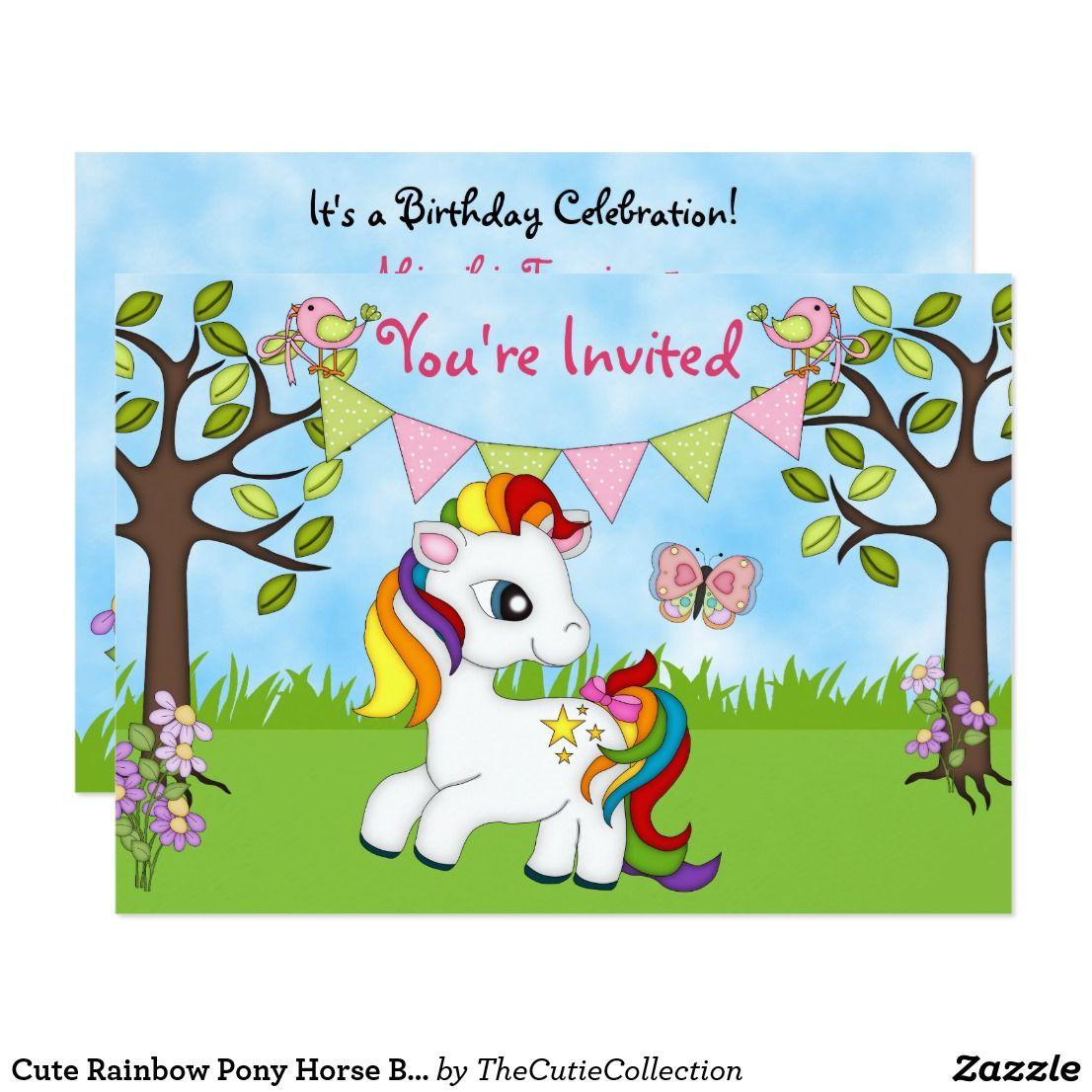 Cute Rainbow Pony Horse Birthday Invitations | Horse birthday and ...