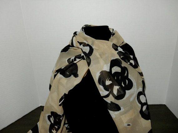 Brown Floral Vintage Silk Scarf by JustForYouByDiane on Etsy