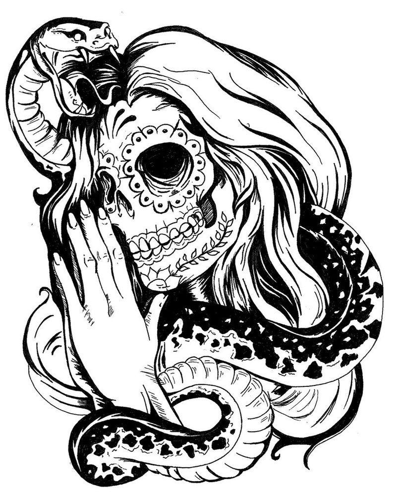 10x10 Girl Skull Tattoo Designs Snake And Girl Sugar Skull ...