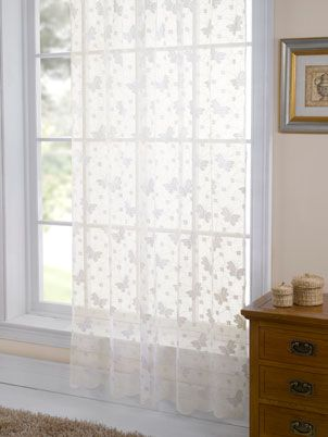 Butterfly Lace Panel Net Cream Cheap Curtain Voile Uk