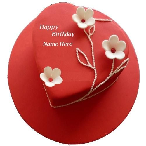 write name birthday cake for lover with name. birthday cake for love heart shape with