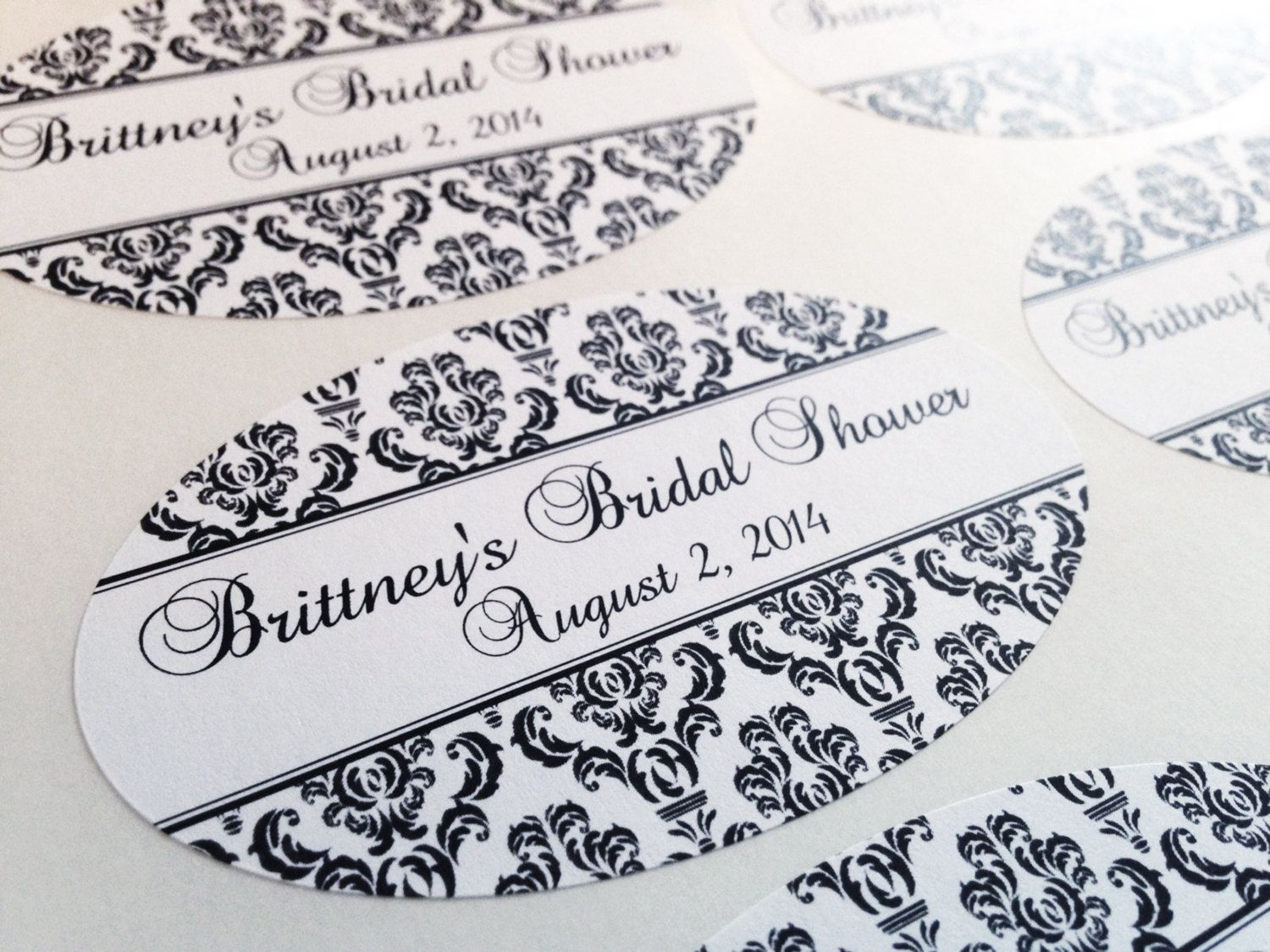 Customizable Damask Labels - perfect for mason jar or candle favors ...