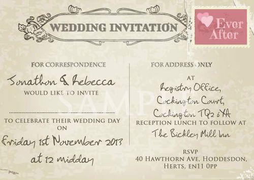 Personalised Shabby Chic Vintage Postcard Wedding Invitations 10 25 50 100