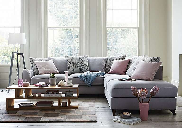 Carrara Fabric Corner Chaise Lounge Chaise Sofa Grey