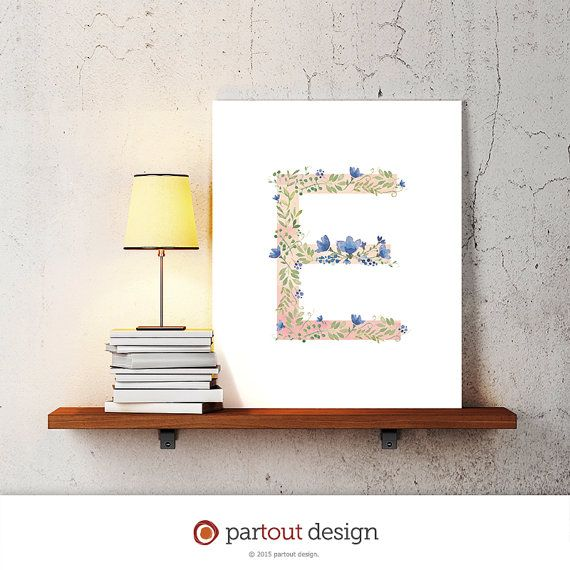 letter E baby nursery art watercolor monogram logo by coloringpage