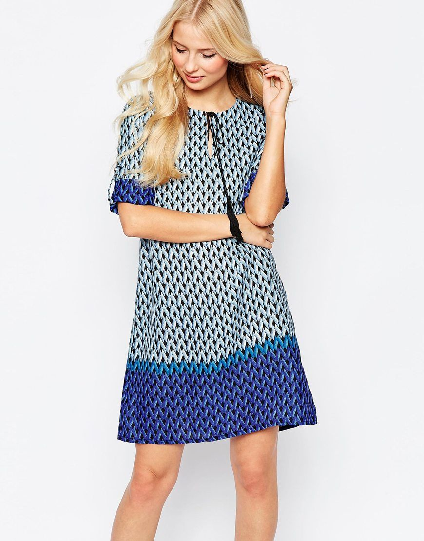 Geo Print Long Sleeve Shift Dress | boohoo