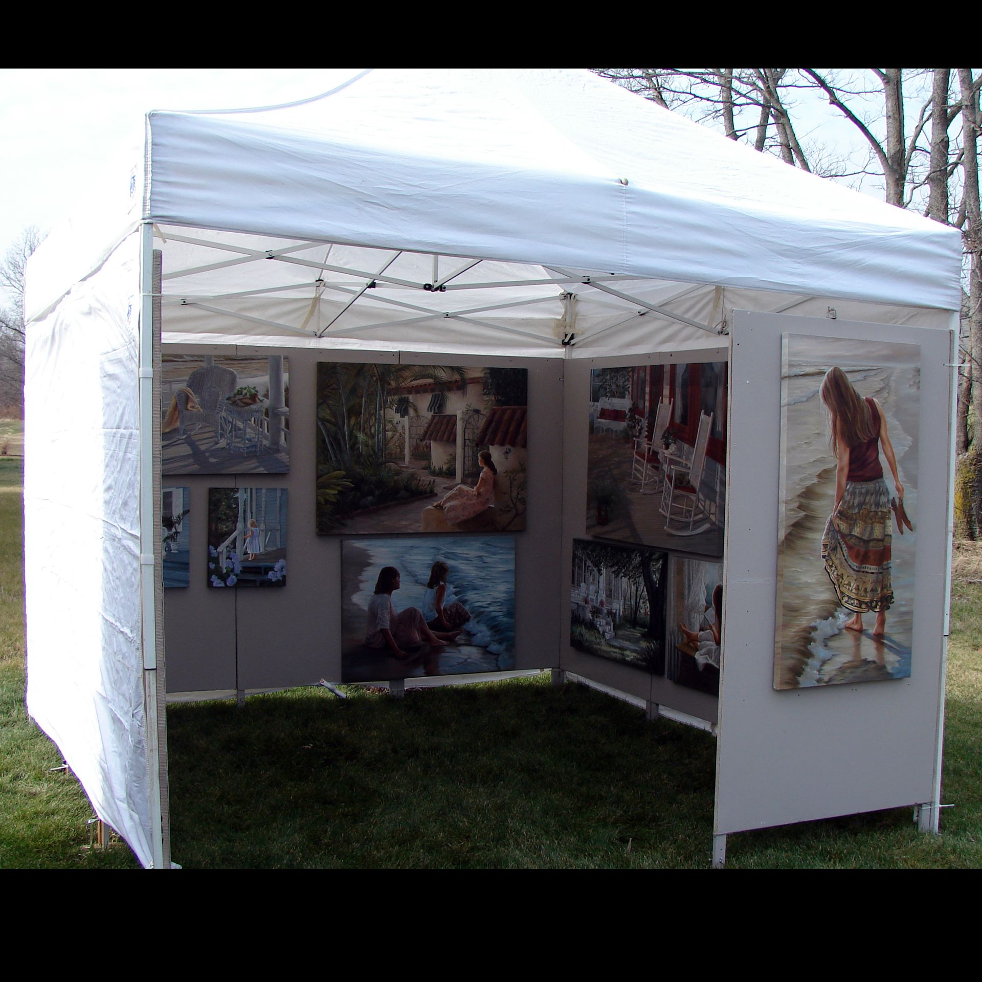 Oil paintings on my art show display booth