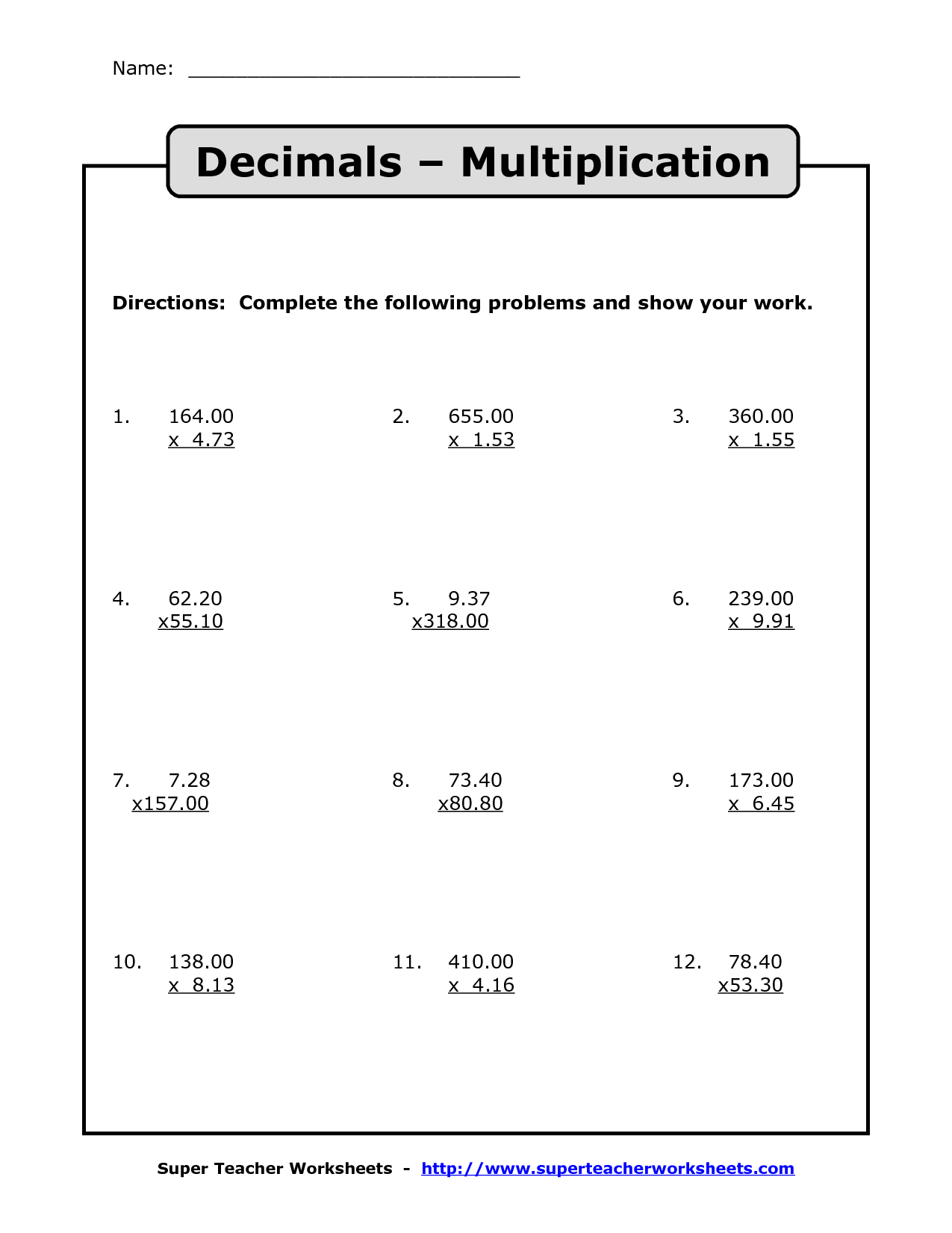 Decimals Worksheets 6th Grade