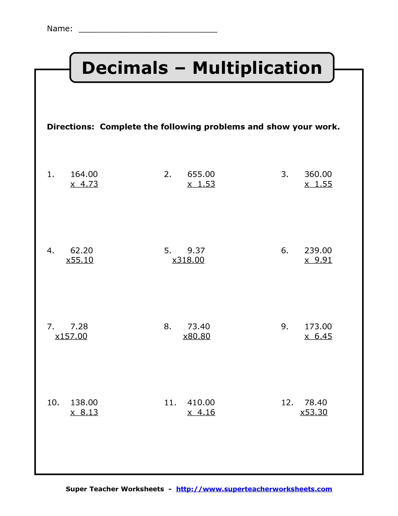 medium resolution of Multiplying Decimals   Multiplication with Decimals Worksheets   Decimal  multiplication