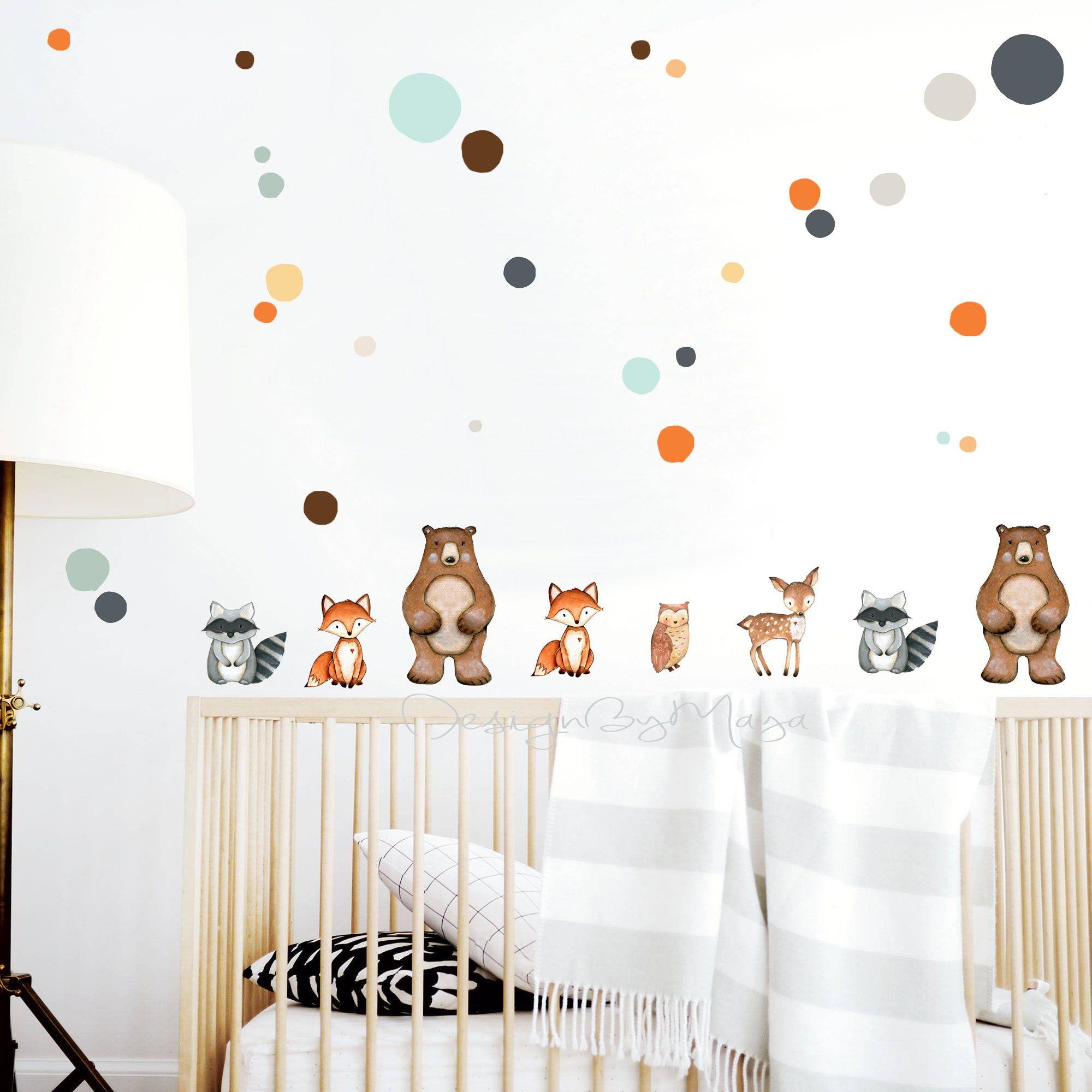 Nursery Decal Woodland Animal Decals Polka Dots Stickers   Etsy   Nursery Wall Decals, Nursery Decals, Baby Room Decor