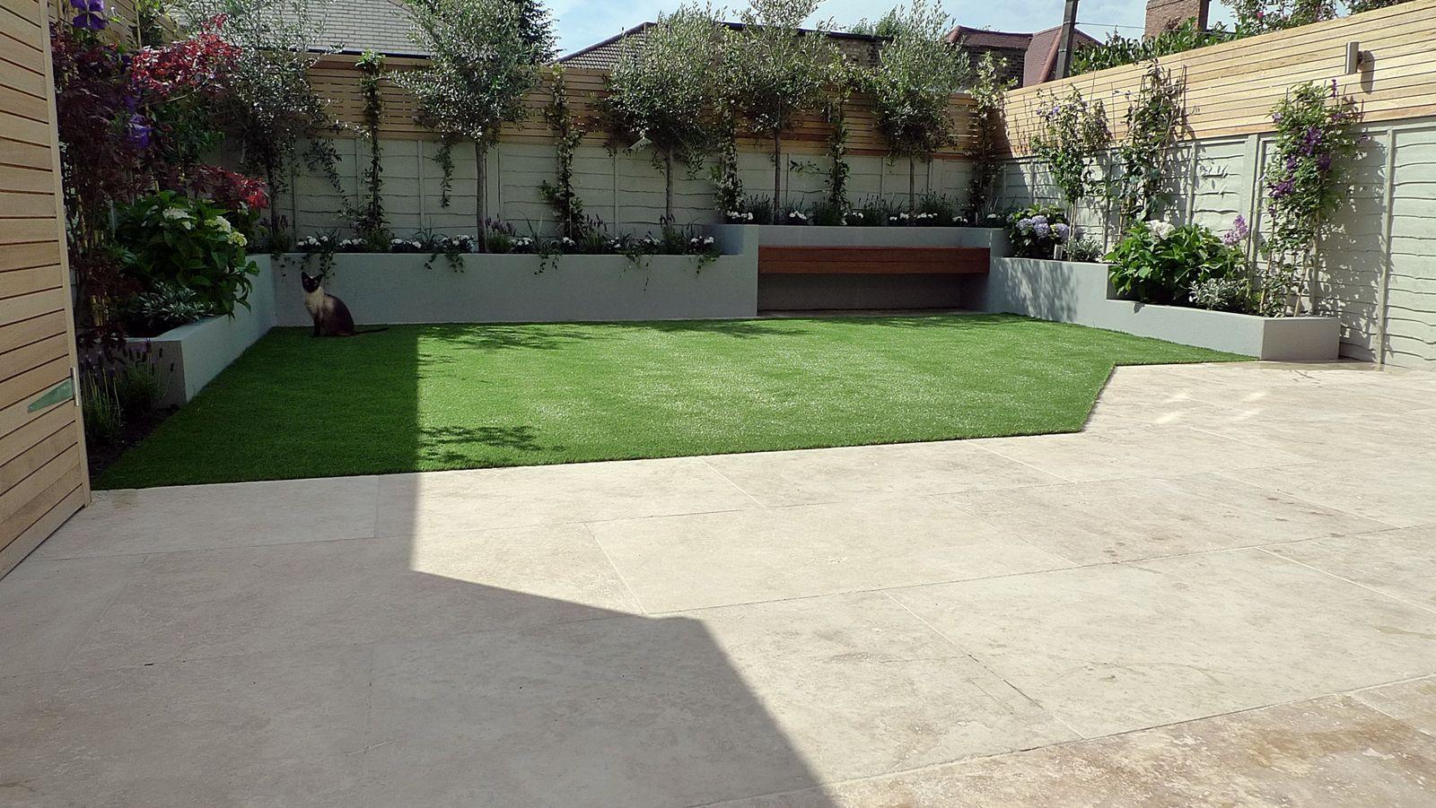 Modern garden design artificial grass raised beds bespoke storage