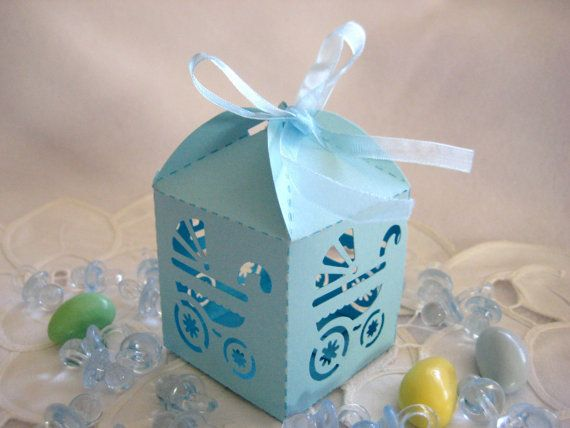 Blue Baby Boy Carriage Party Favor Boxes, Laser Cut, Baby Shower Favor
