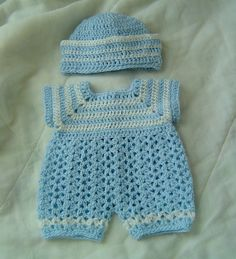 Crochet Pattern For Baby Shirt : 0029-A. PREEMIE Baby Boy Sailor Romper Reversible Set Real ...