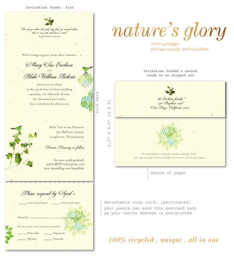 Natureu0027s Glory (premium) Recycled wedding, Outdoor settings and - best of invitation card wedding format