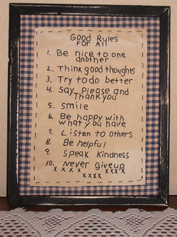 Primitive Stitchery Good Rules For by PureCountryStitchery on Etsy
