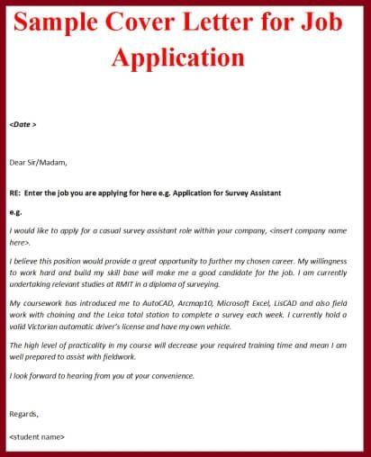 Template Job Application Cover Letter Examples For The Apply Ver