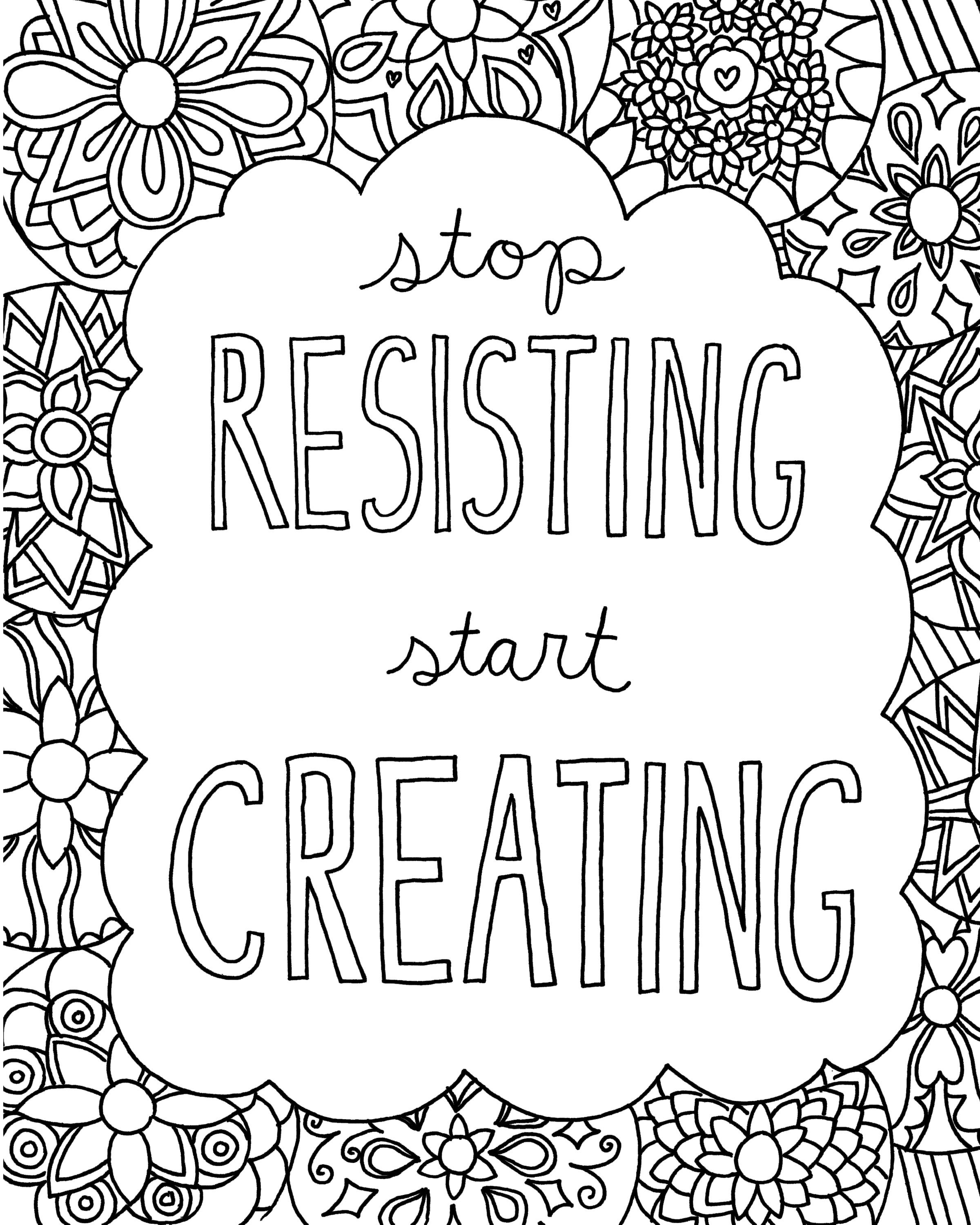 Free coloring book pages for grown ups quotes for your creativity