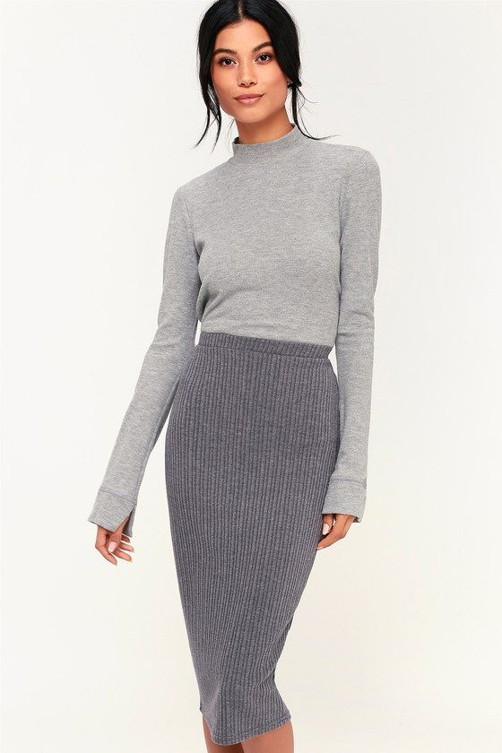 efd9bed70 Get those dressed up vibes while staying cozy with the O'Neill Candi Grey  Ribbed Knit Midi Skirt! Ribbed knit fabric is soft yet sleek as it hugs  your ...