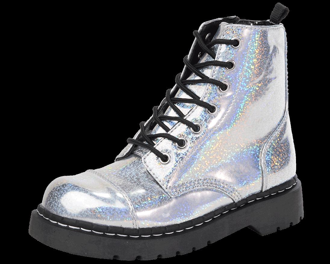 Iridescent Silver Vegan Anarchic Combat Boots - T2236 | T.U.K. Shoes