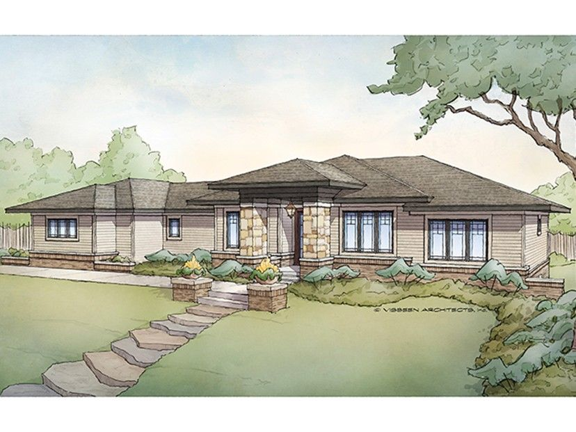 Prairie Style Home Plan with 3718 Square Feet and 5 Bedrooms from