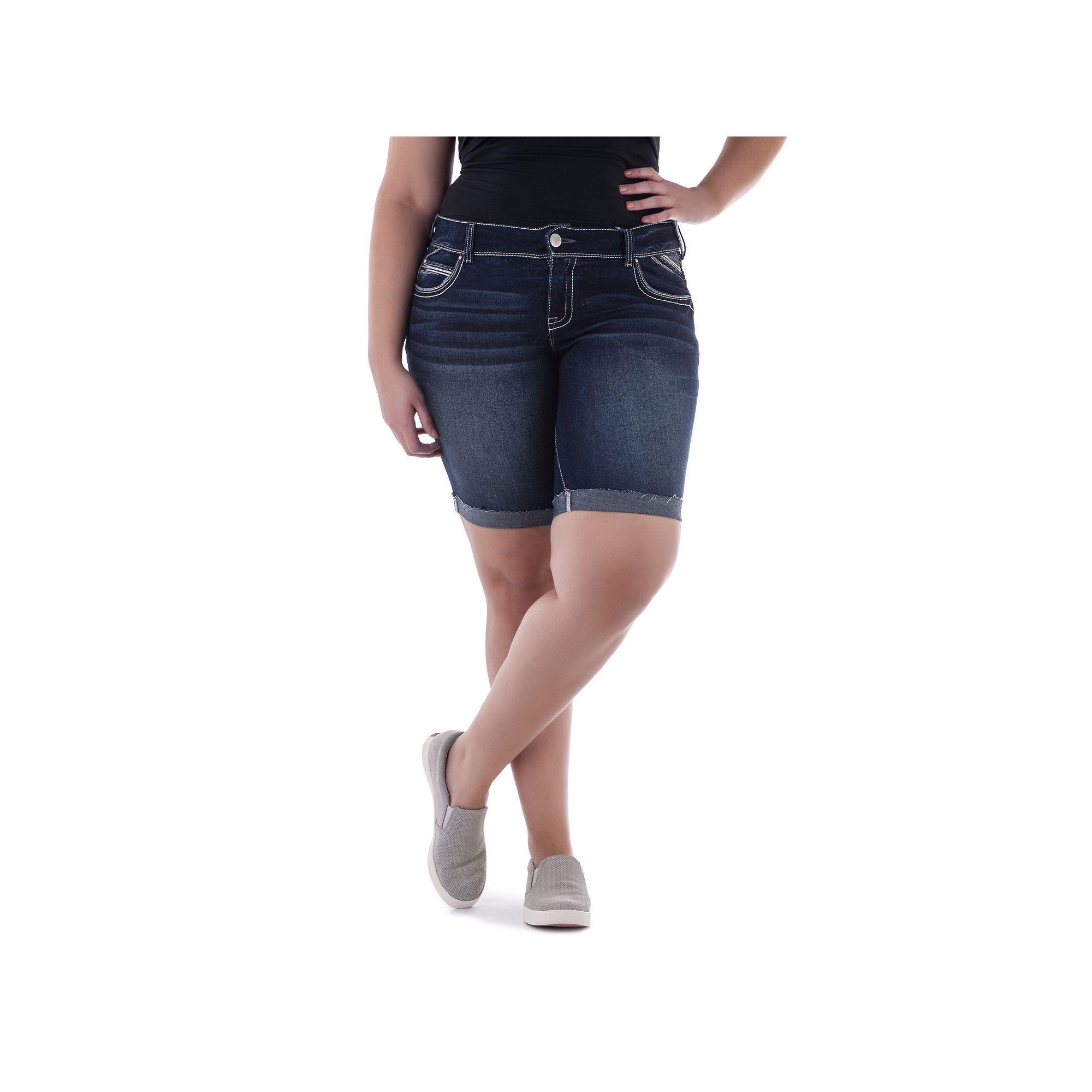 Juniors' Plus Size Amethyst Dark Wash Denim Bermuda Shorts, Teens, Size: 16  W, Dark Blue