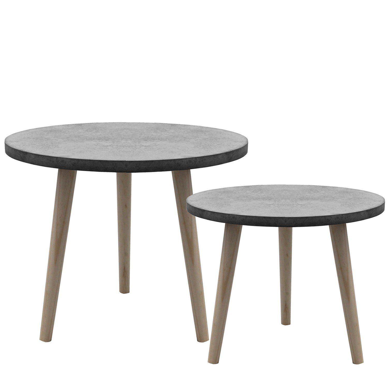 Set Beistelltische 39x32cm Und 49x42cm Couchtisch Nachttisch Wohnzimmertisch Kaffeetisch Blumentisch Aus Holz