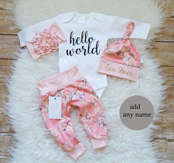 5763849135a This adorable Baby Girl Take Home Outfit Hello World will be perfect ...