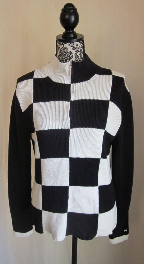 TOMMY HILFIGER Women's Black White Checker Board 1/2 Zip Sweater L Large #TommyHilfiger #MockTurtleneck