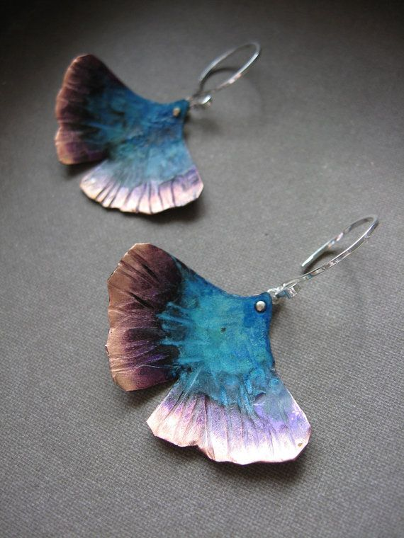 Ginkgo Necklace and Earring Set Enamled Purple