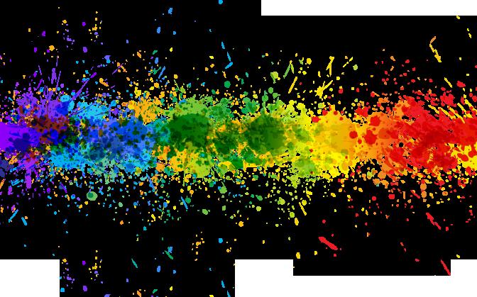 Transparent rainbow splash line background projects for Color splash wall art