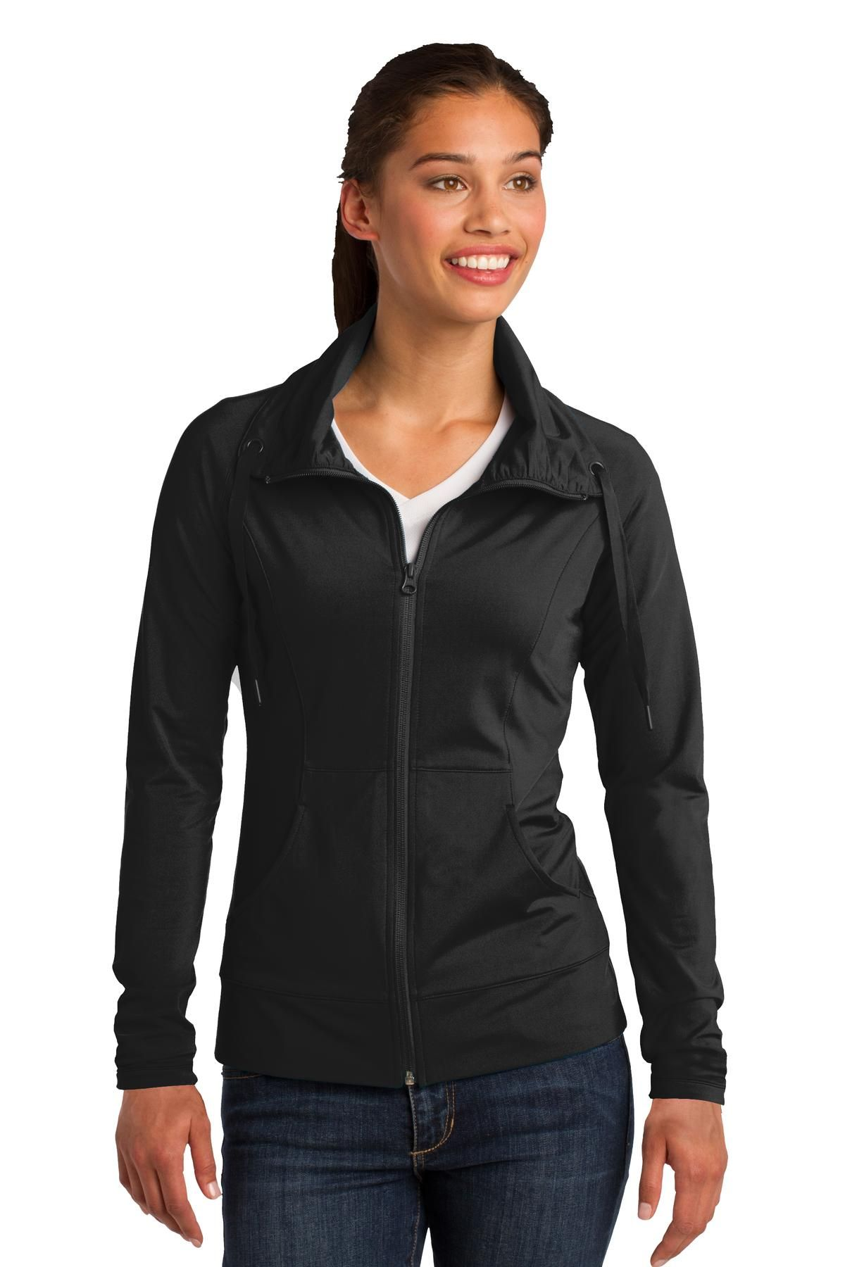 Buffalo Embroidery : Ladies sport wick stretch full zip jacket. Up to 4XL. Minimum order 12 pieces for embroidery. $35 includes embroidery.