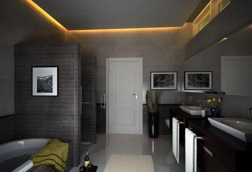 Decke Badezimmer ~ Badezimmer grau mit abgehönter badezimmer decke bathroom