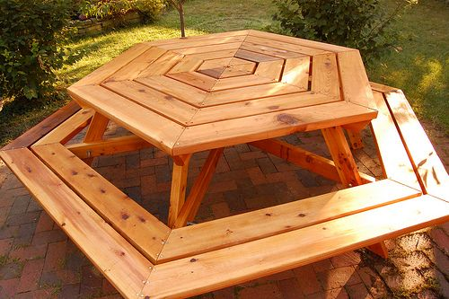Hexagon Picnic Table Rather Than Tables And Chairs For The - Hex picnic table