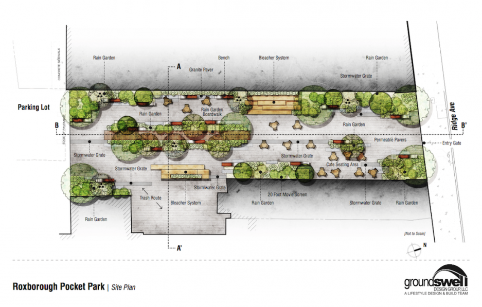 Groundswell Design Group Is Working Their Magic In Roxborough And The Proof Is In The First Designs Of The Pr Pocket Park Parking Design Landscape Design Plans