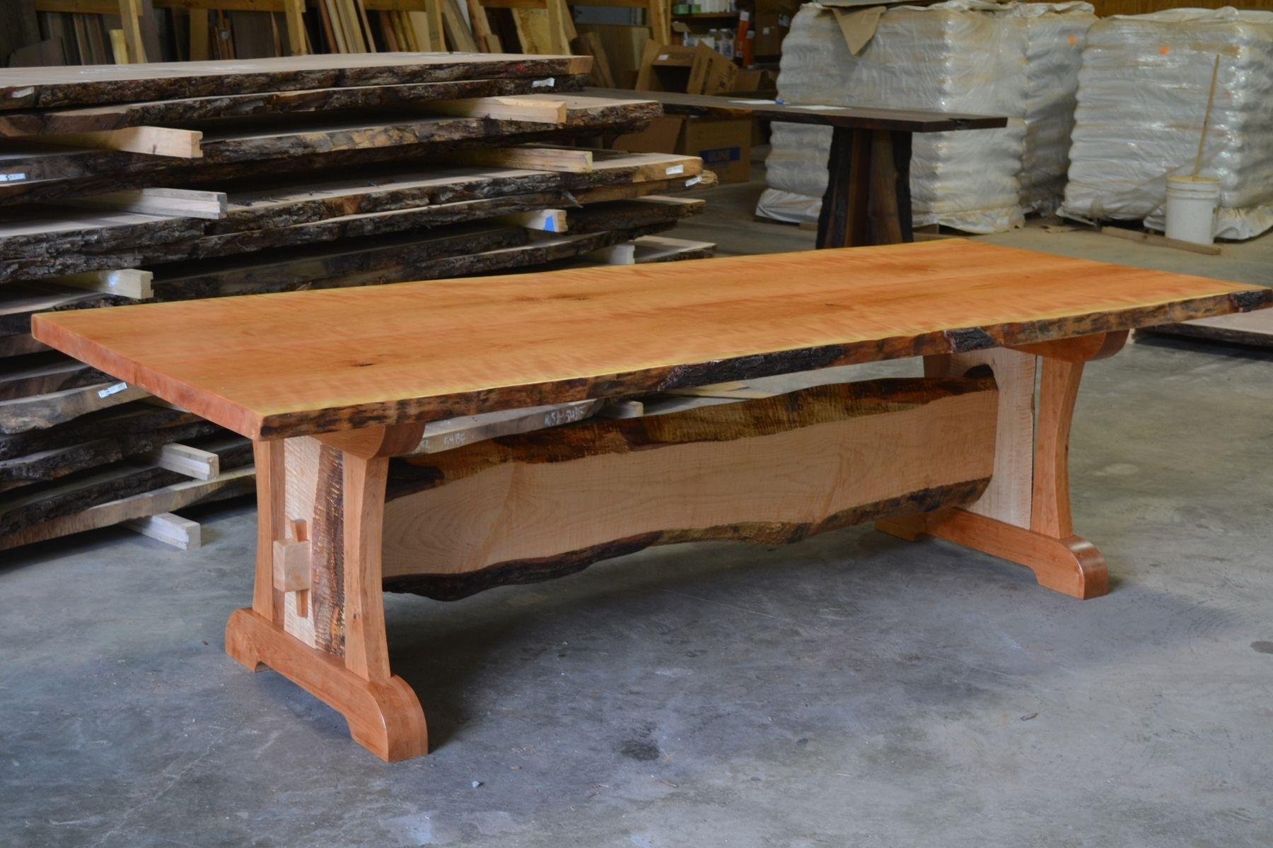 Live Edge Dining Room Table. Custom Made Live Edge Cherry Dining Table With Trestle Base