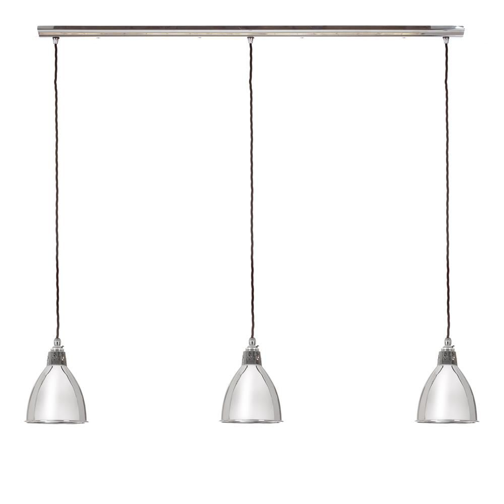 Barbican Triple Pendant Light (with Track) In Nickel