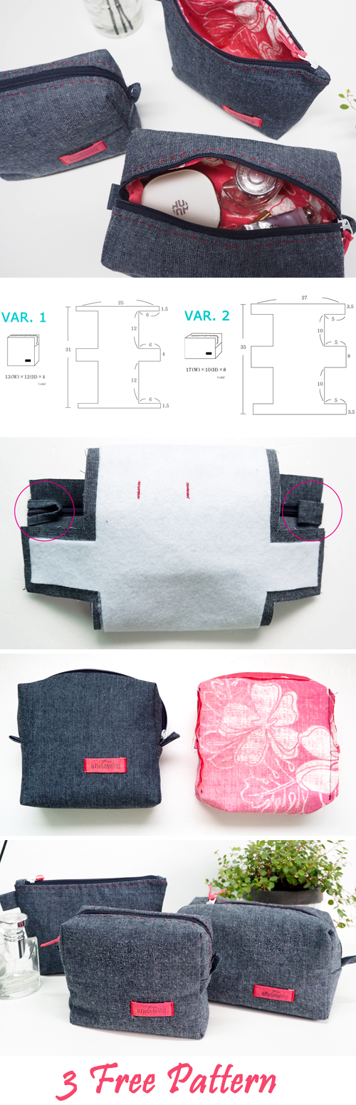 Three Cosmetic Bags of Jeans   Moldes   Pinterest   Diy sewing ...