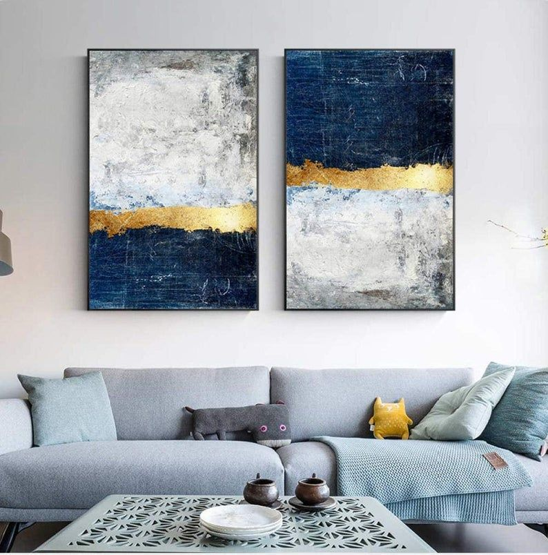 Navy Blue Gold Foil Contemporary Wall Art Canvases Hd Etsy Wall Art Pictures Abstract Wall Art Office Wall Art Contemporary wall art living room