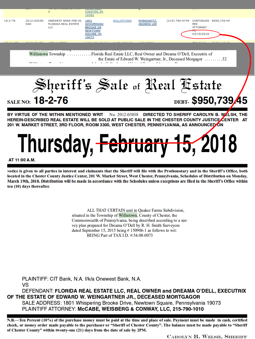 Page listing for Chester Countyus February Sheriff Sale