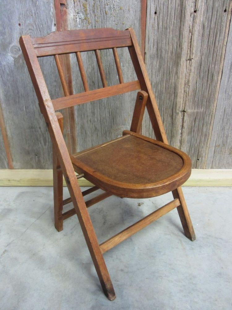 Details about vintage childs wooden folding chair