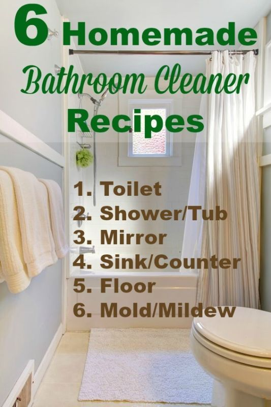 6 Homemade Bathroom Cleaner Recipes Cleaners Pinterest