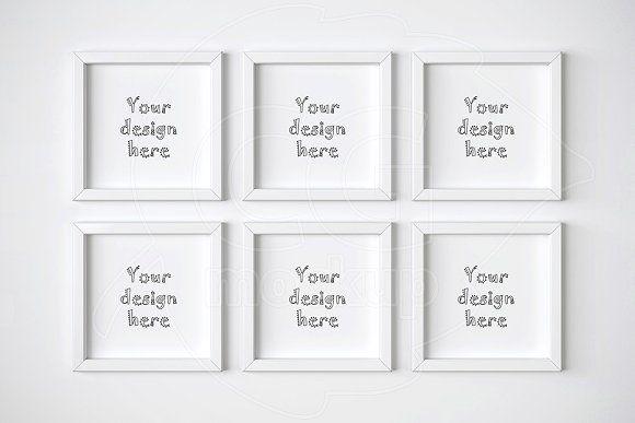 Set of 6 square frame mockups | Mockup