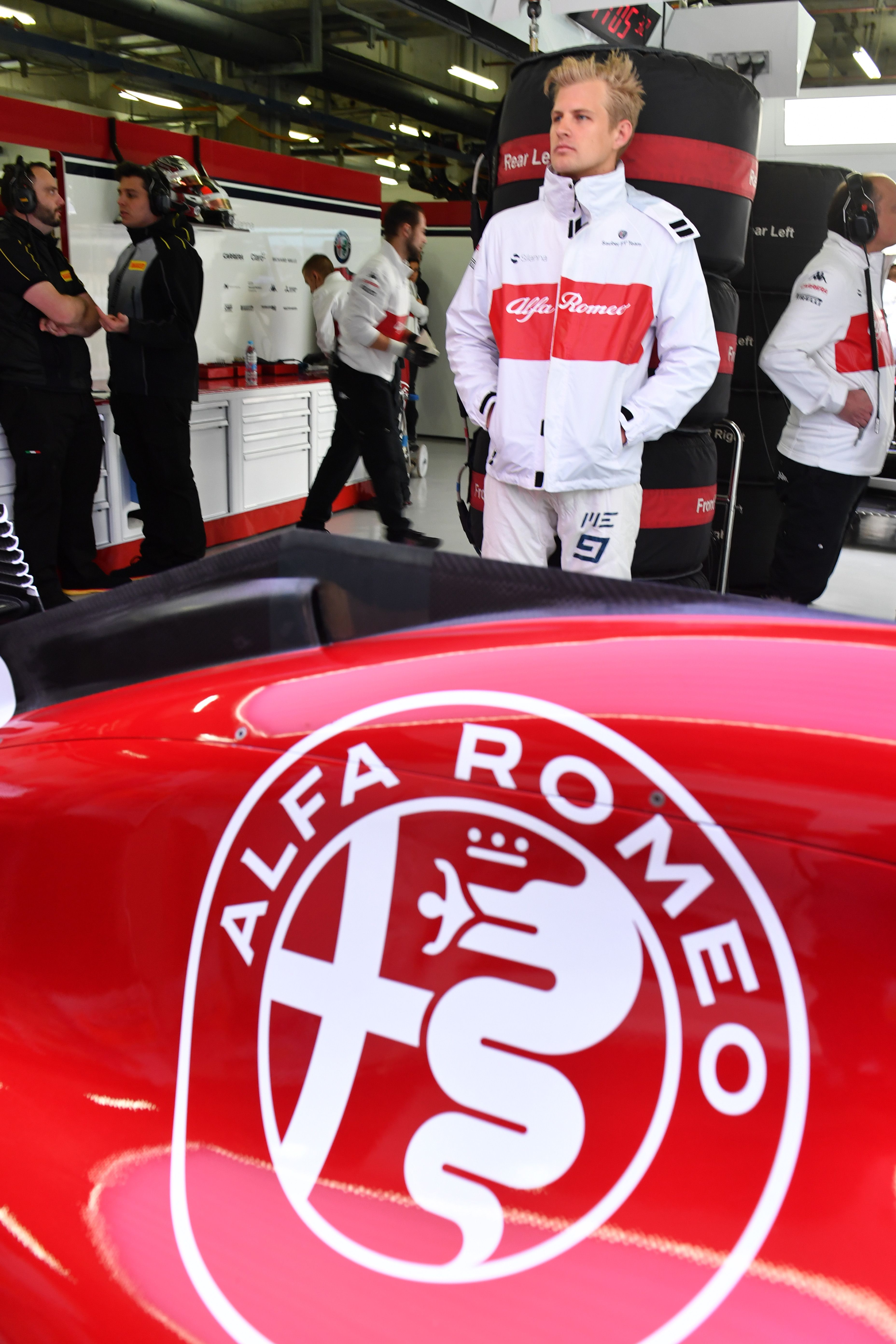 Marcus Ericsson And The C37 In The Alfa Romeo Sauber F1 Team Garage At The 2018 Chinese Gp