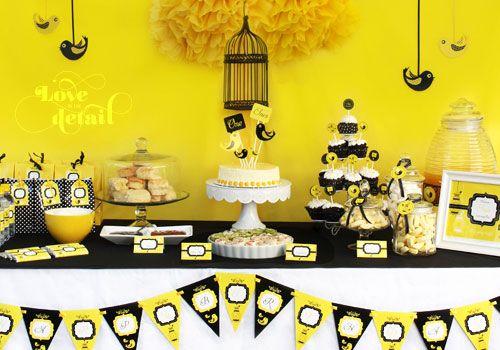 Children geburtstagsdeko Motto Party Hummingbird Decoration Party Deco Yellow Black