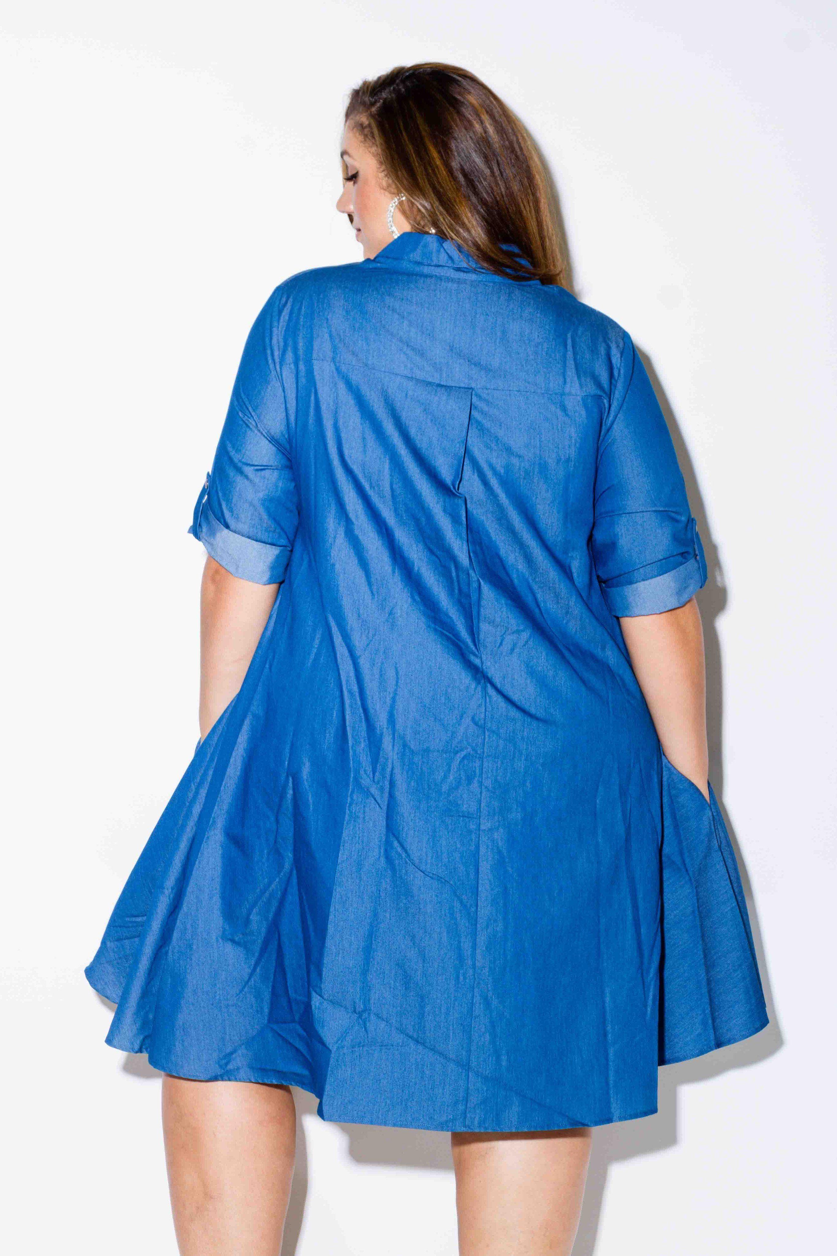 Plus Size Chambray Shirt Dress Erica Lauren Mcneill Pinkclubwear