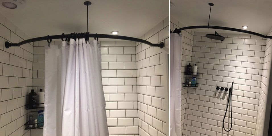 An Offset Curved Shower Rod In Oil Rubbed Bronze With Ceiling